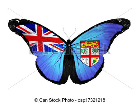 Clipart of Fiji flag butterfly flying, isolated on white.
