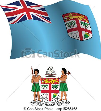 Clip Art Vector of fiji wavy flag and coat of arms against white.