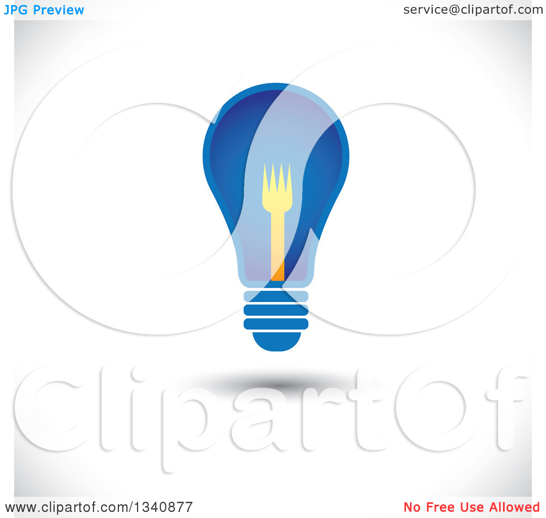 Clipart of a Floating Blue Light Bulb with a Yellow Fork Filament.