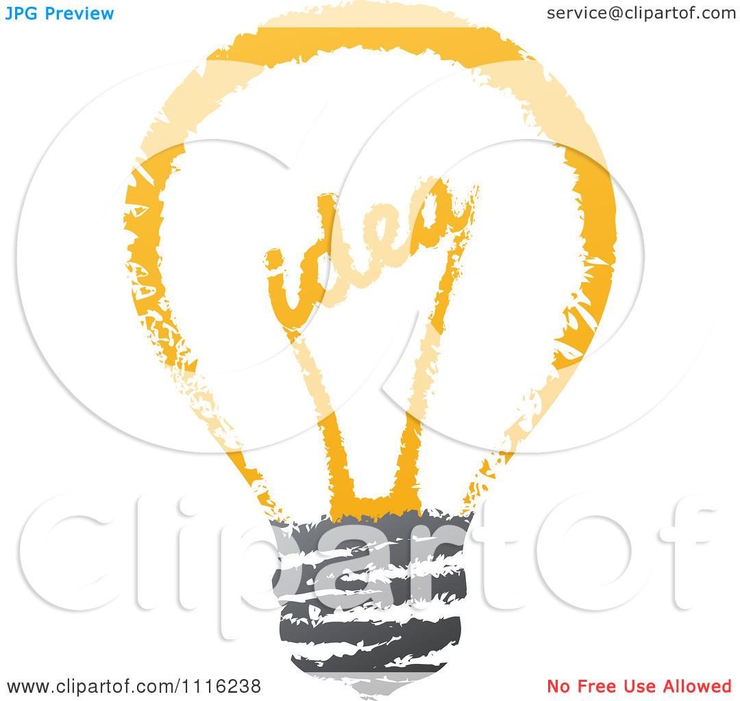 Clipart Sketched Idea Filament In A Light Bulb.