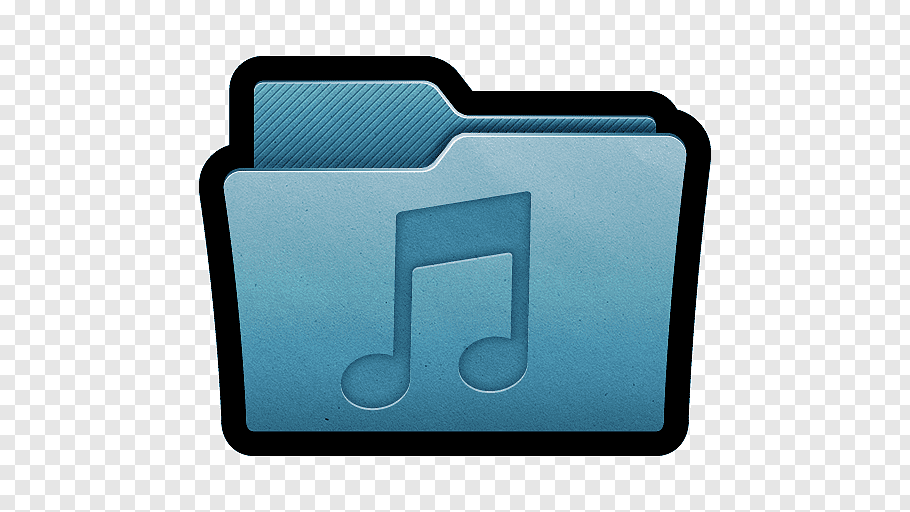 Music file logo, electric blue font, Folder Music free png.