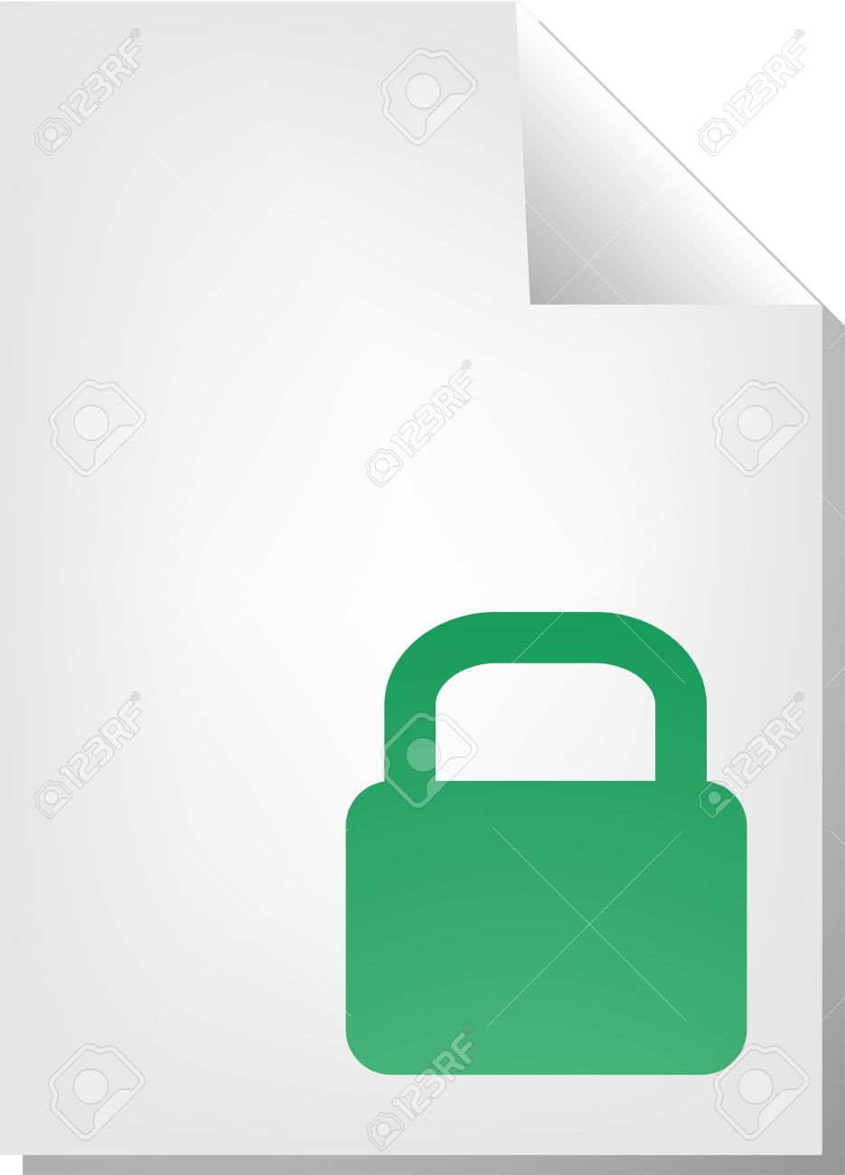 Locked Security Document File Type Illustration Clipart Stock.
