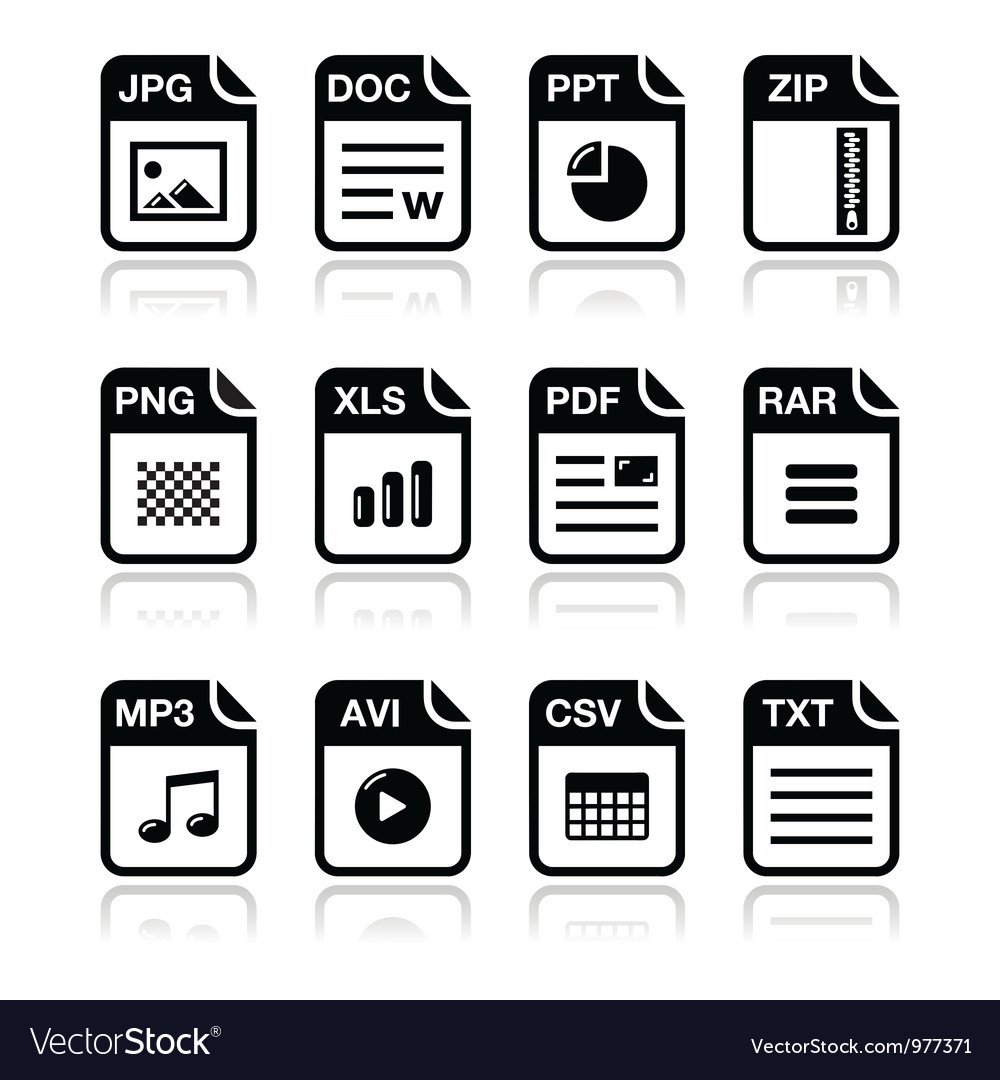 File type black icons with shadow set.