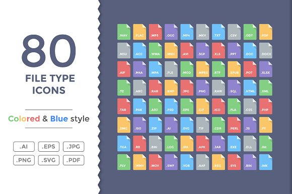 80 Flat File Type Icons.