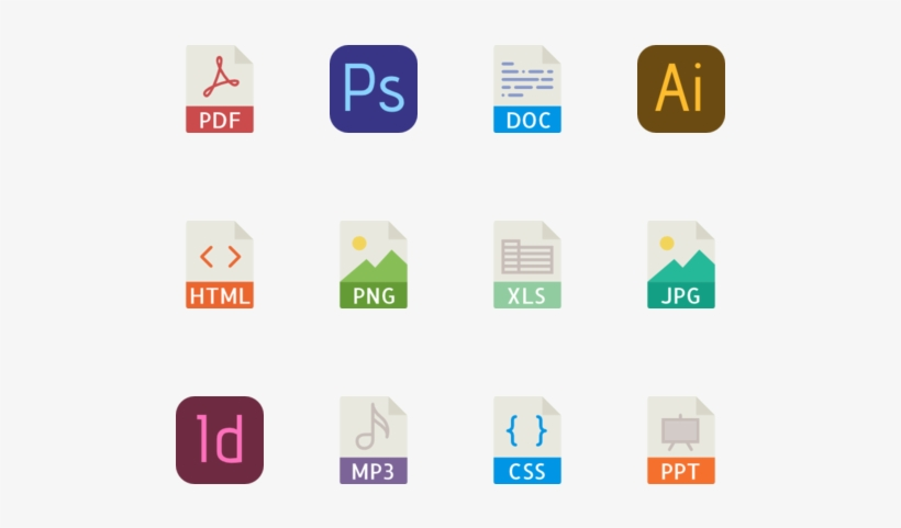 40 File Types Color Icons Logo.
