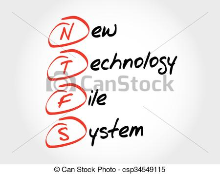 Vector Clip Art of NTFS New Technology File System, acronym.