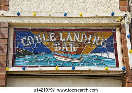 Picture of England, North Yorkshire, Filey, Stained glass sign for.
