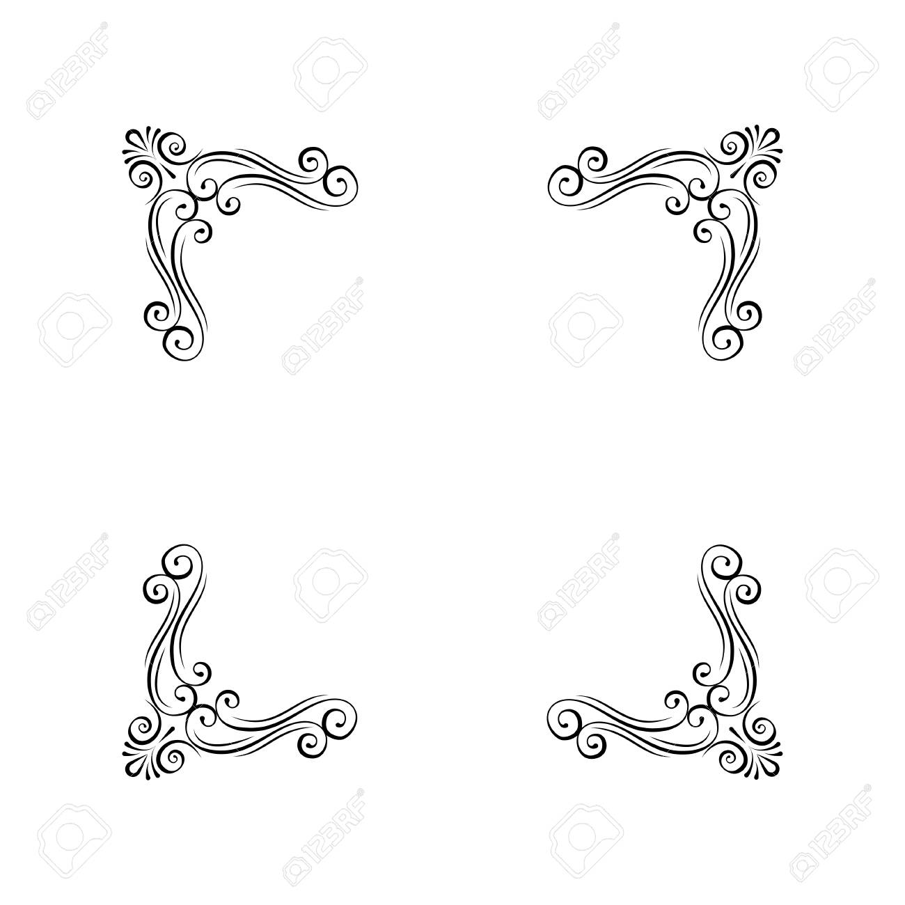 Vintage decorative corners. Calligraphic scroll filigree page...