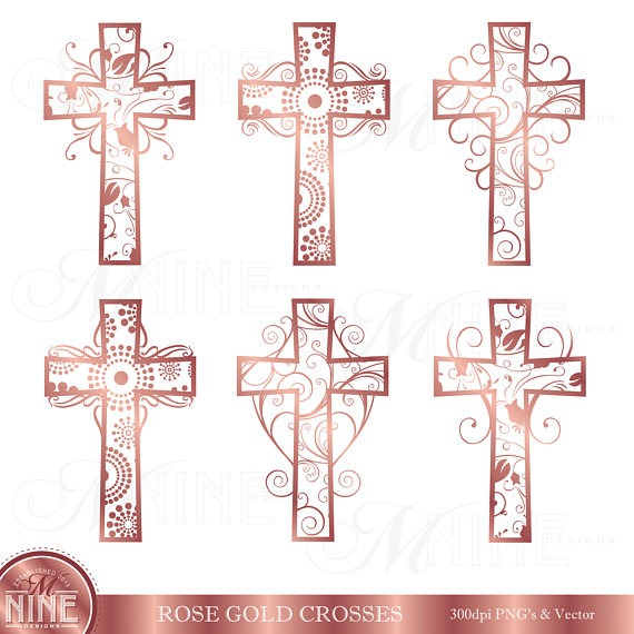 Rose Gold FILIGREE CROSSES Clipart / Rose Gold Cross Clip.