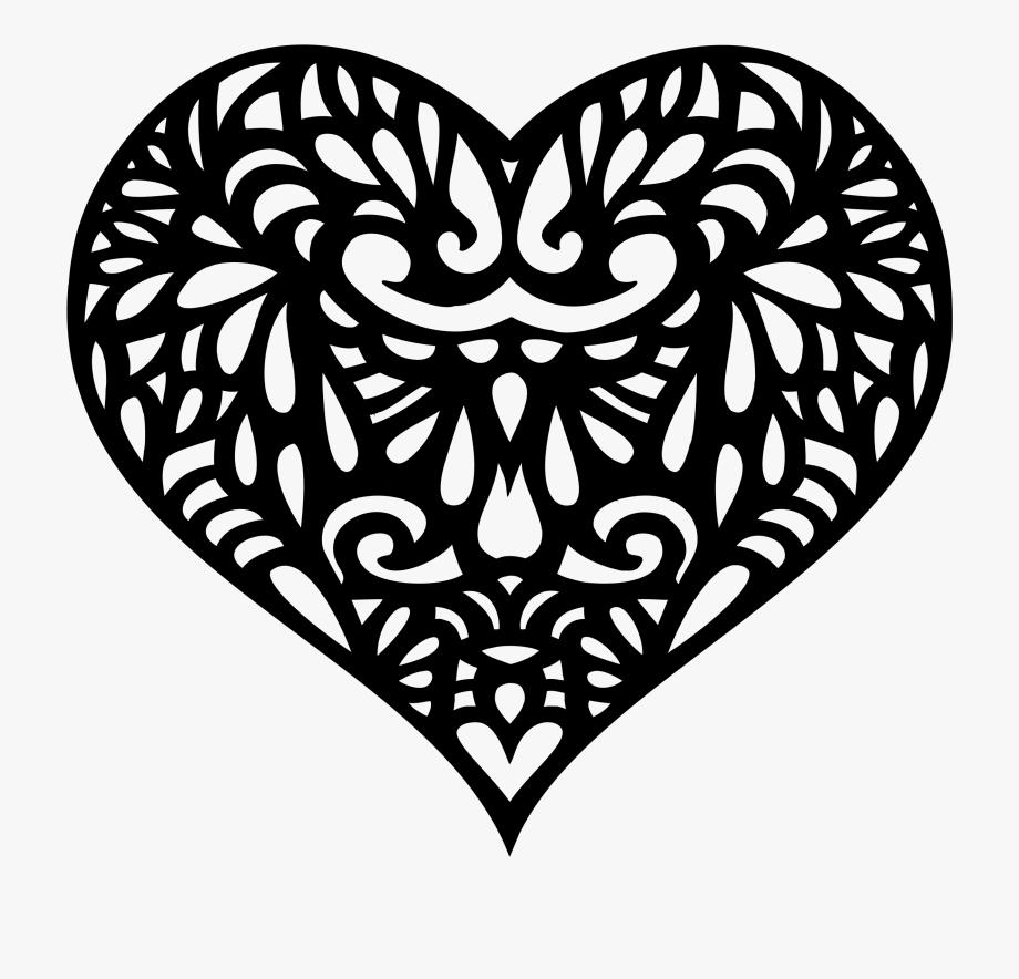 Decorative Ornamental Heart Silhouette Picture Black.