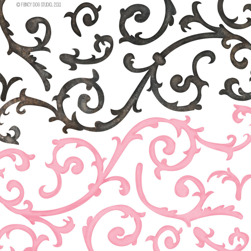 Pink Filigree Clipart.