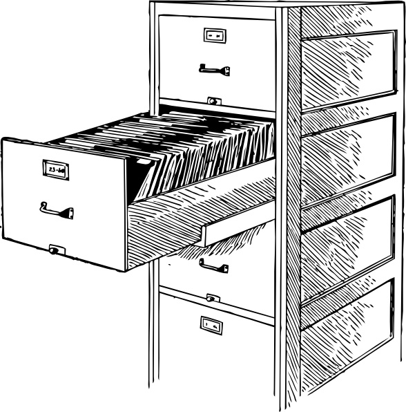 Open File Cabinet clip art Free vector in Open office drawing svg.