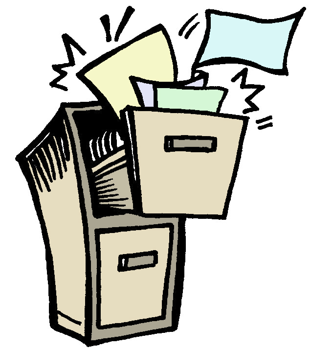 Messy File Cabinets Clipart.