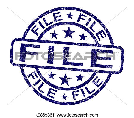 Clipart of File Stamp Shows Organising Documents And Papers.