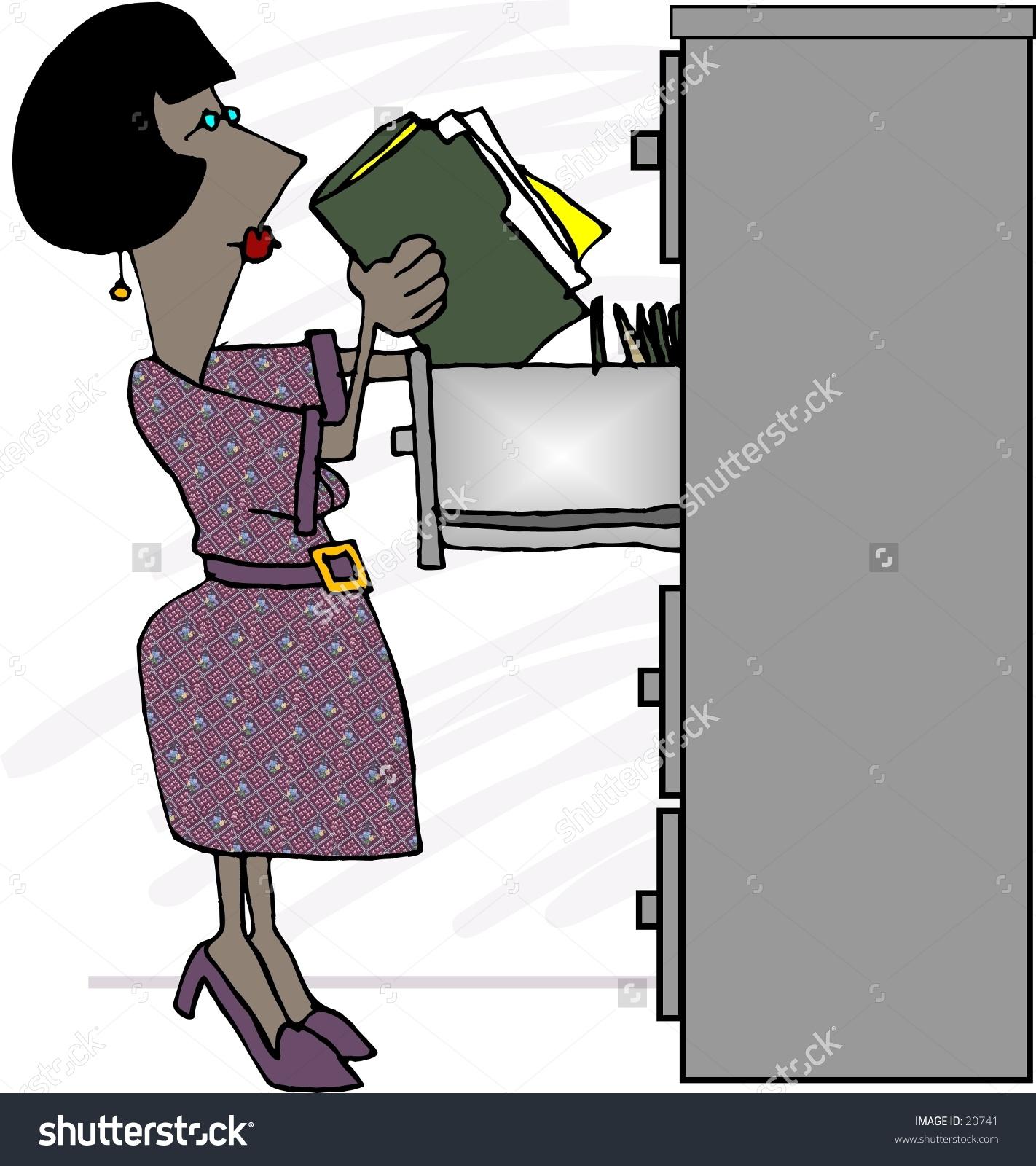 Clipart Illustration Woman Putting Files Filing Stock Illustration.