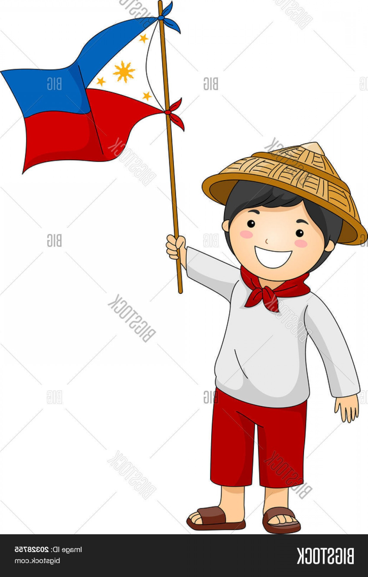 Stock Vector Illustration Of A Filipino Kid Holding The Philippine.