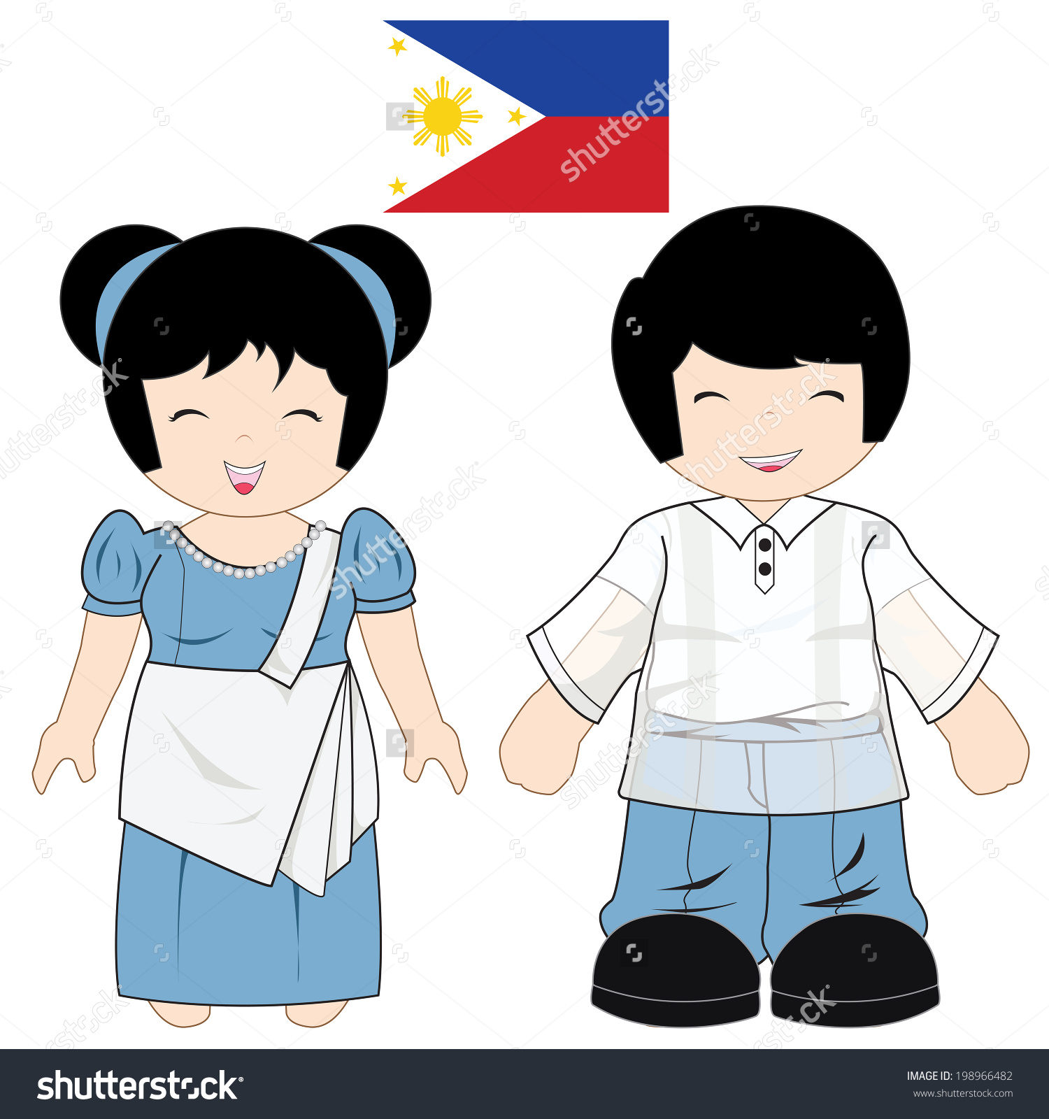 Philippines Traditional Costume Style On Isolate Stock Vector.