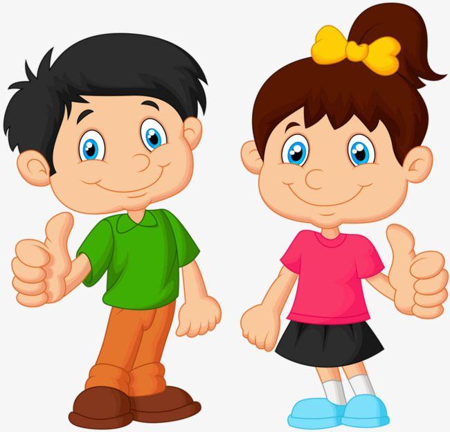 Deux Enfants De Coup De Pouce, Garçon, Fille, Coup De Pouce.