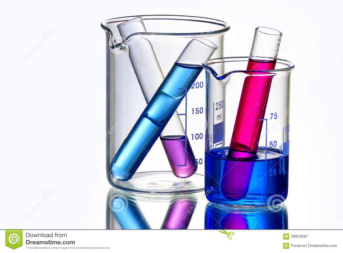 Beakers With Test Tubes Filled With Chemicals Stock Photo.