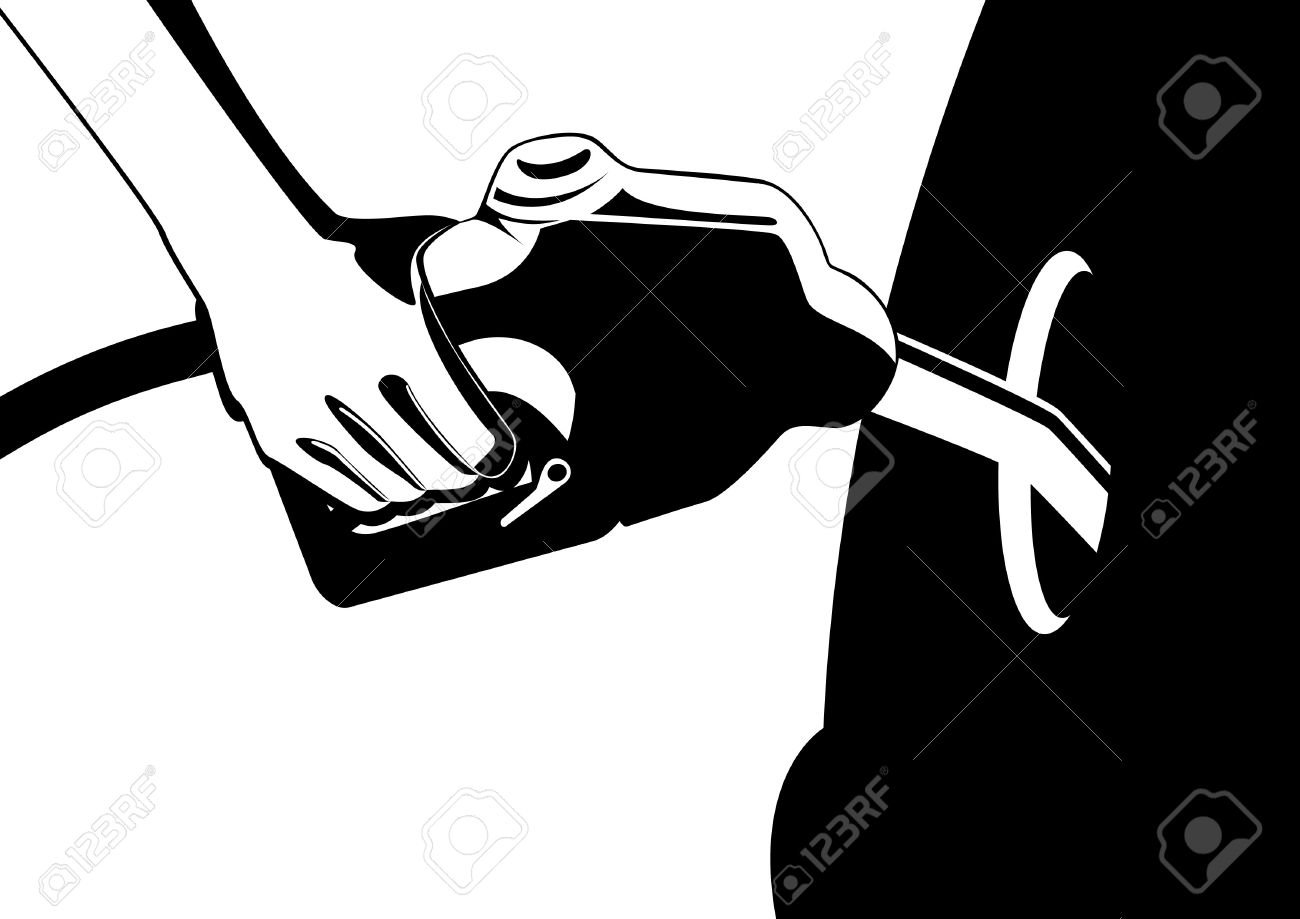 Mans Hand Holding A Gun Inserted In Filling The Fuel Tank Filler.