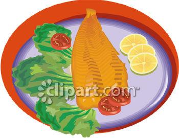 Salmon Fillet with Lemon Garnish.