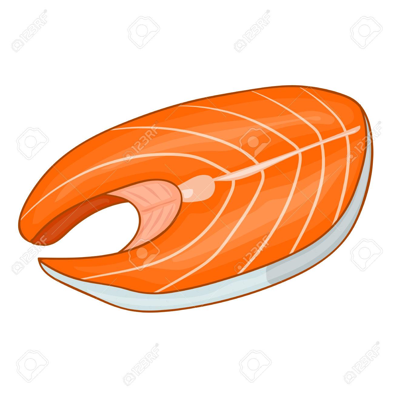 Fish Steak Of Tuna Isolated Illustration On White Background.