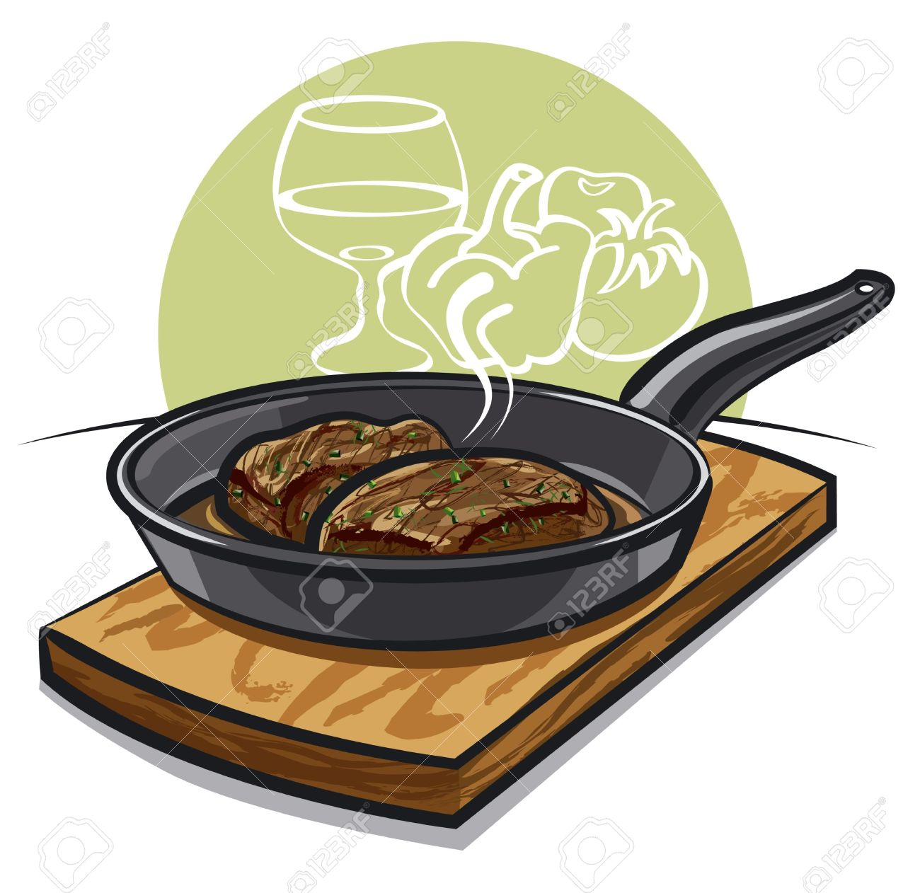 Hot Steak On A Pan Royalty Free Cliparts, Vectors, And Stock.