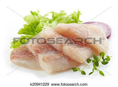 Stock Photograph of raw hake fish fillet pieces k20941229.