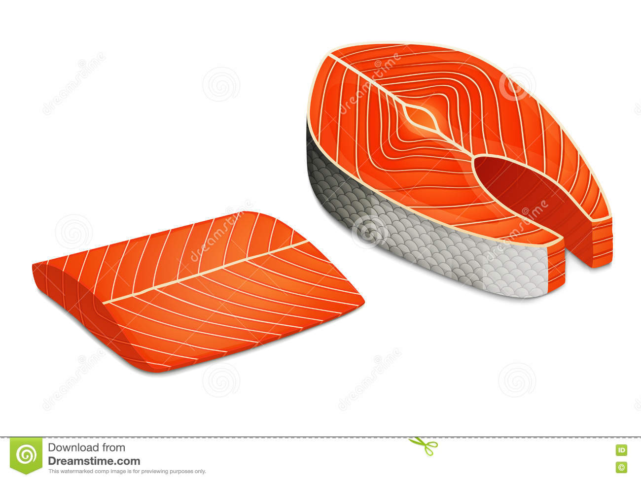 Piece Of Salmon Steak, Fillet Of Red Fish. Stock Vector.