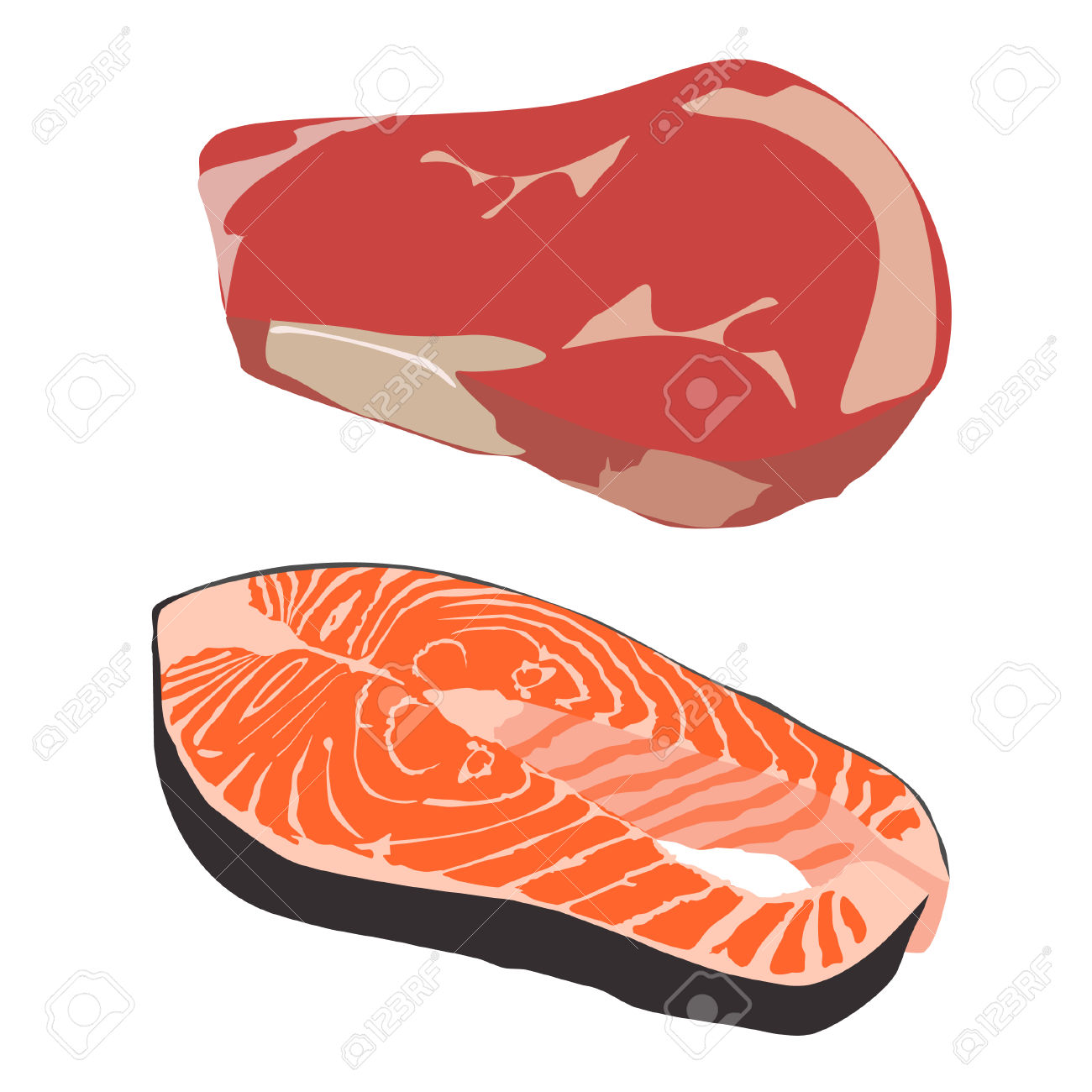 Raw Beef Steak And Salmon Fish Steak Vector Isolated, Fish Fillet.