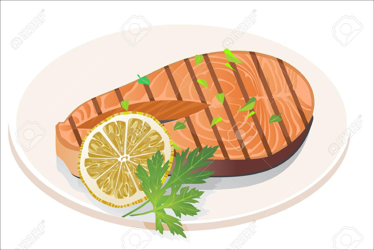 Appetizing Salmon Steak With Lemon Slice Royalty Free Cliparts.