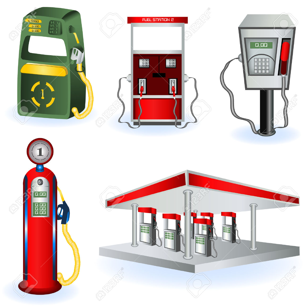 A Collection Of Five Different Fuel Station Icons. Royalty Free.