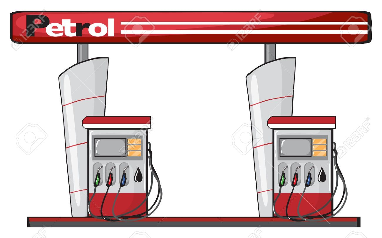 Illustration Of A Petrol Station On A White Background Royalty.