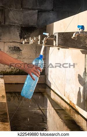 Filling Water Bottles Clipart.