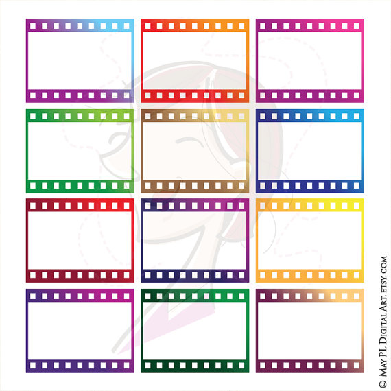 8mm Film Filmstrip Photographer Frames Clip Art by MayPLDigitalArt.