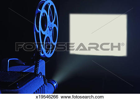 Stock Images of 8mm film projector running and blank screen.