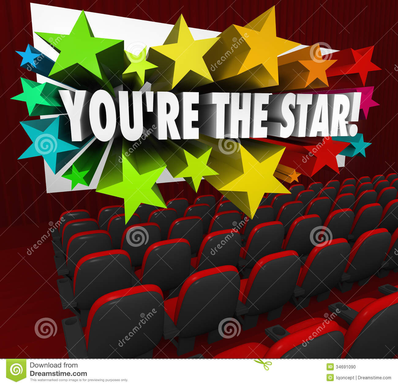 You're The Star Movie Theatre Screen Film Acting Stock Photo.