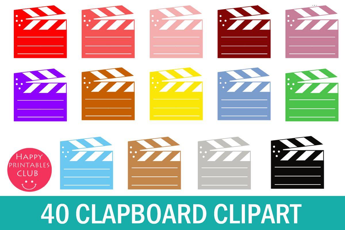 40 Film Clapboard Clipart.