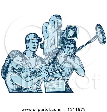Clipart of a Blue Sketch of Film Crew Clapper Board, Sound Man and.