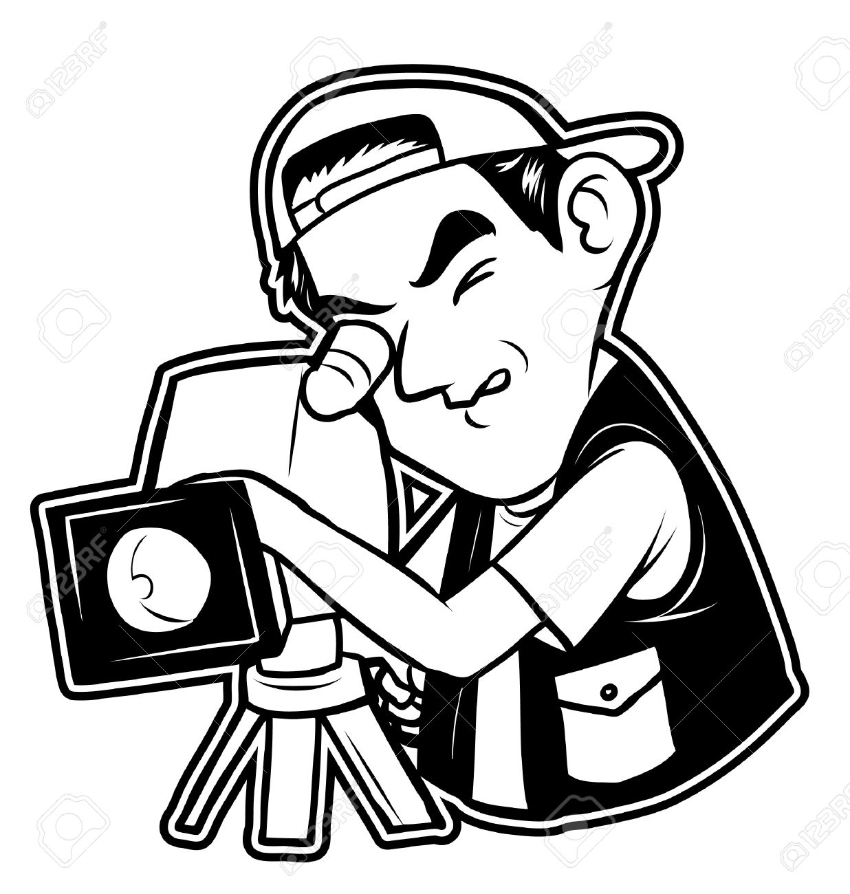 Black And White Clipart Videographer Royalty Free Cliparts.