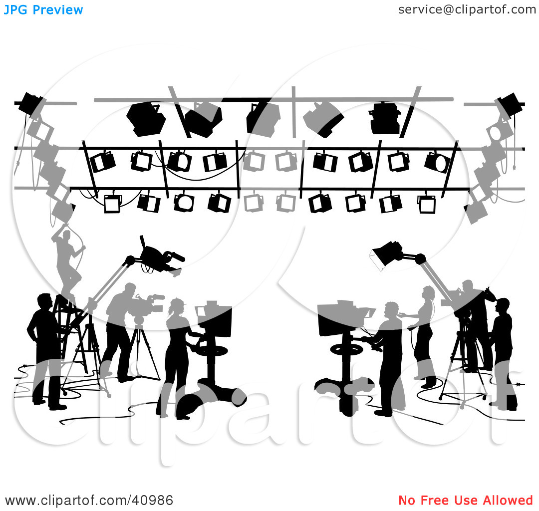 Clipart Illustration of a Silhouetted Black And White Scene Of.