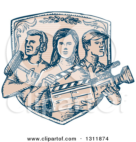 Clipart of a Sketched Shield with Film Crew Workers.