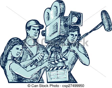Clipart Vector of Film Crew Clapperboard Cameraman Soundman.