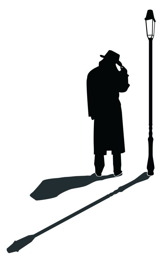 Street Lamp Silhouette Detective Man Silhouette Wall by.
