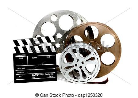 Stock Illustration of Movie Production Clapper and Film Tins on.