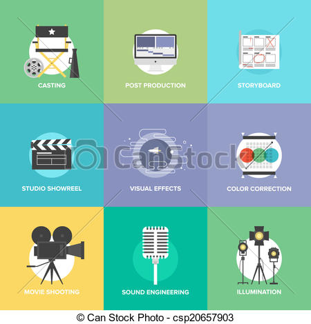 Vector Clipart of Film shooting and production flat icons set.