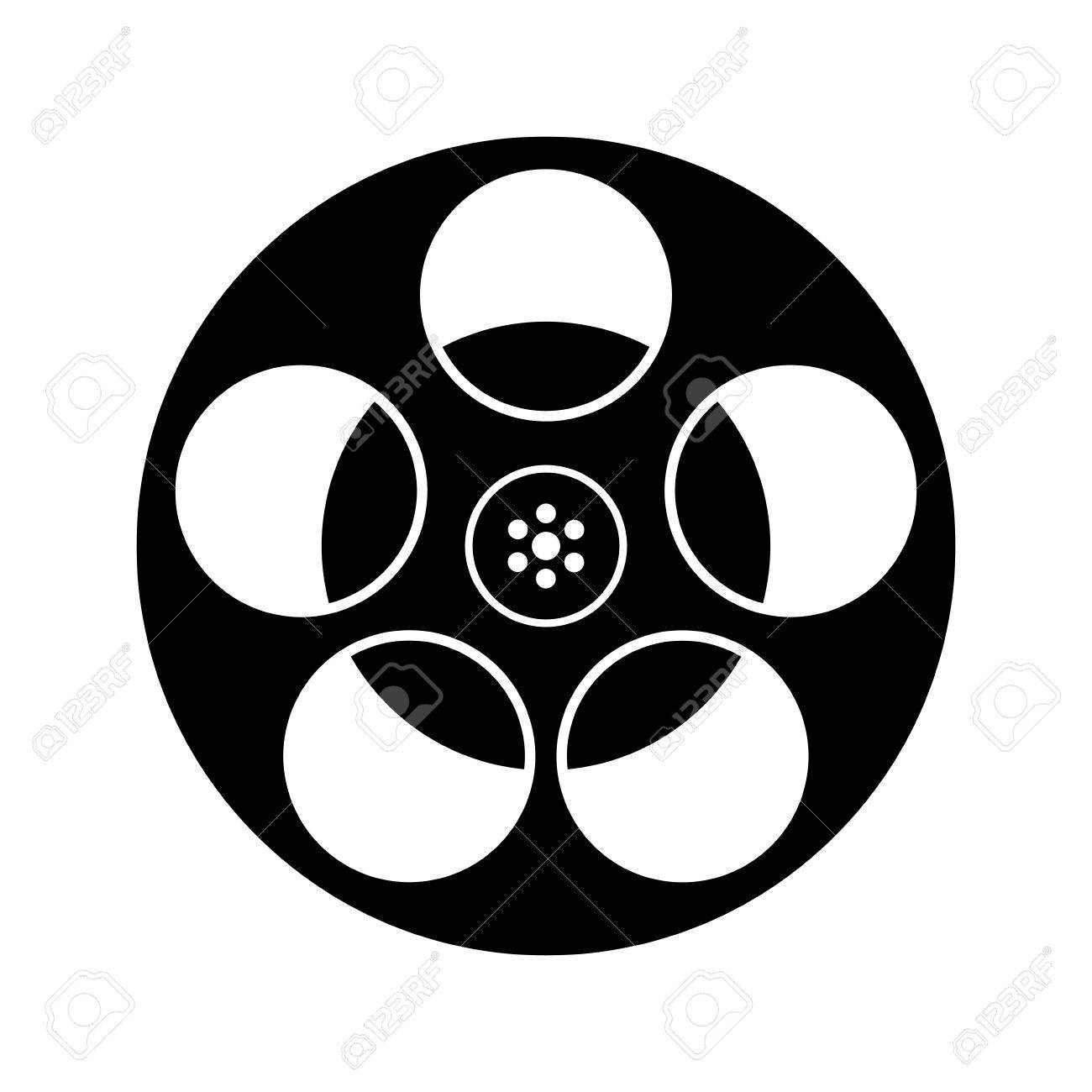 Black And White Film Reel Icon Isolated.