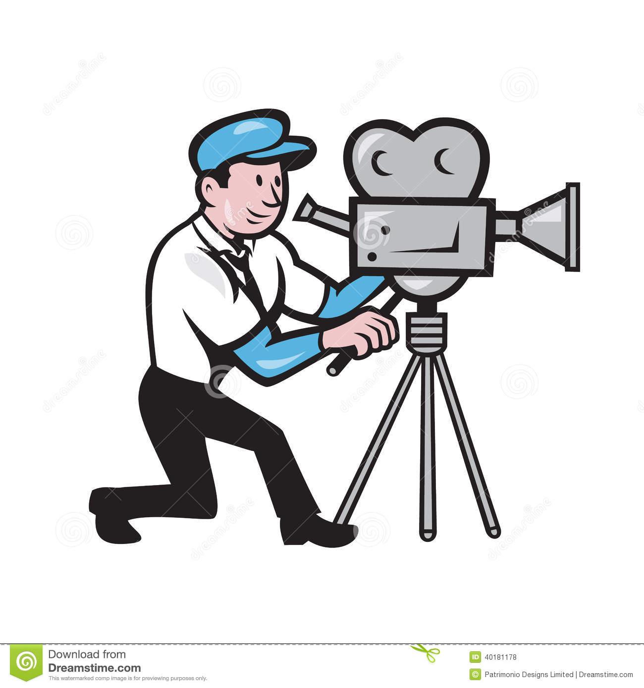 Cameraman Vintage Film Movie Camera Side Cartoon Stock Vector.