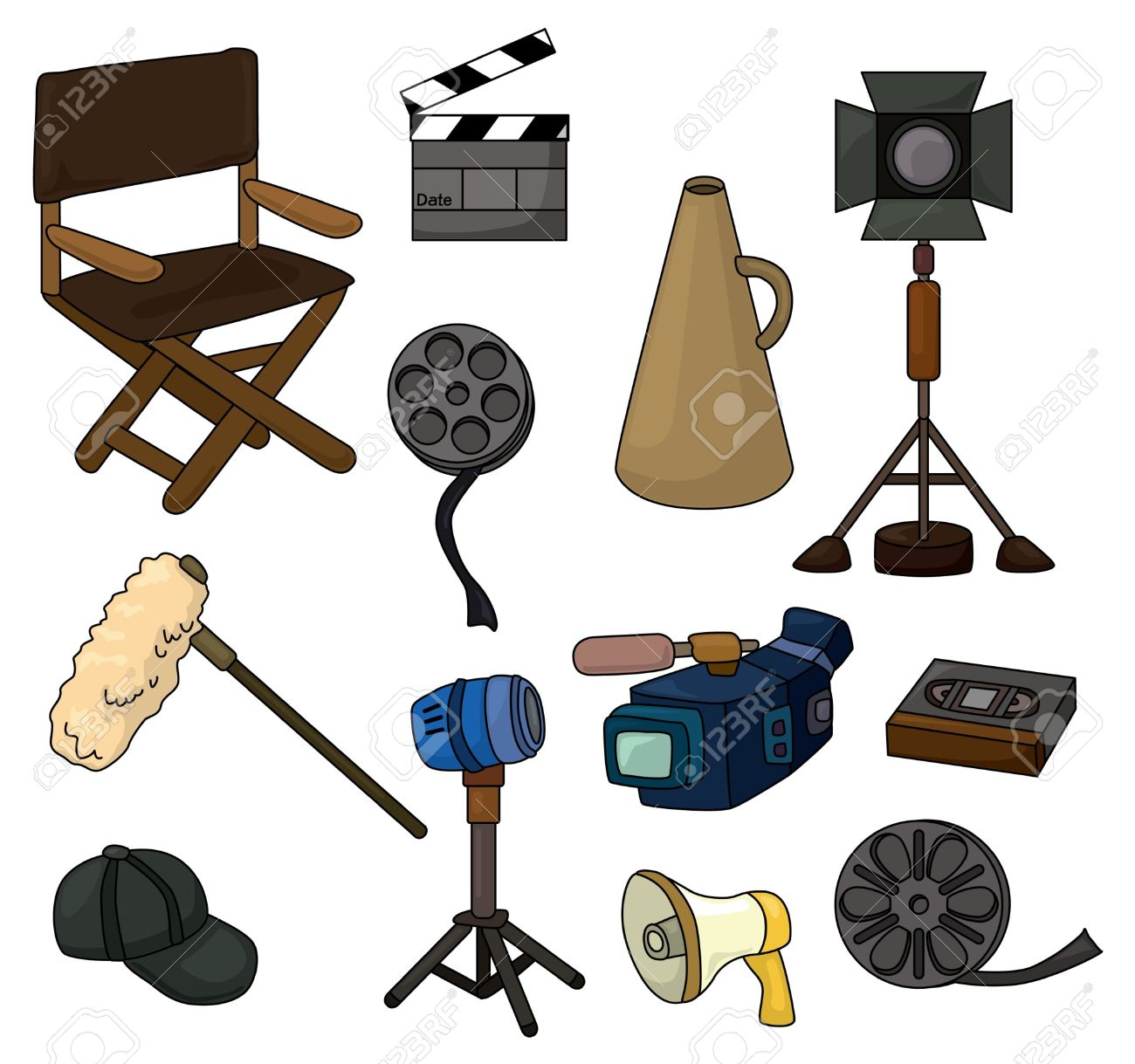 Cartoon Movie Equipment Icon Set Royalty Free Cliparts, Vectors.