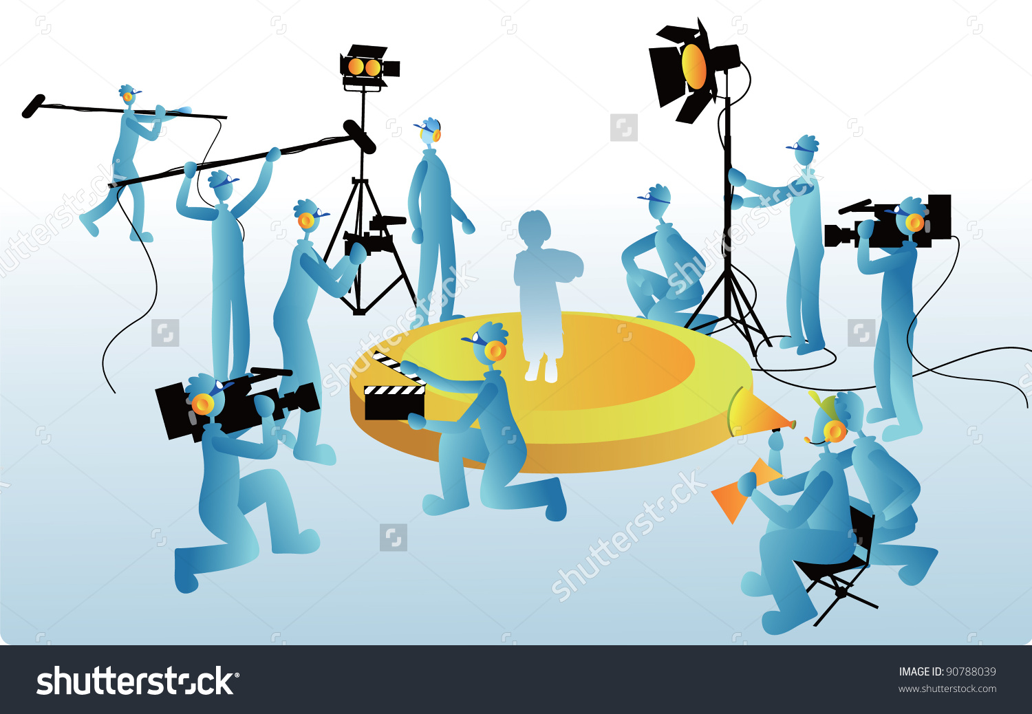 Film Maker Working Staff On Blue Stock Vector 90788039.